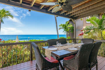 Ocean front dining on spacious covered lanai