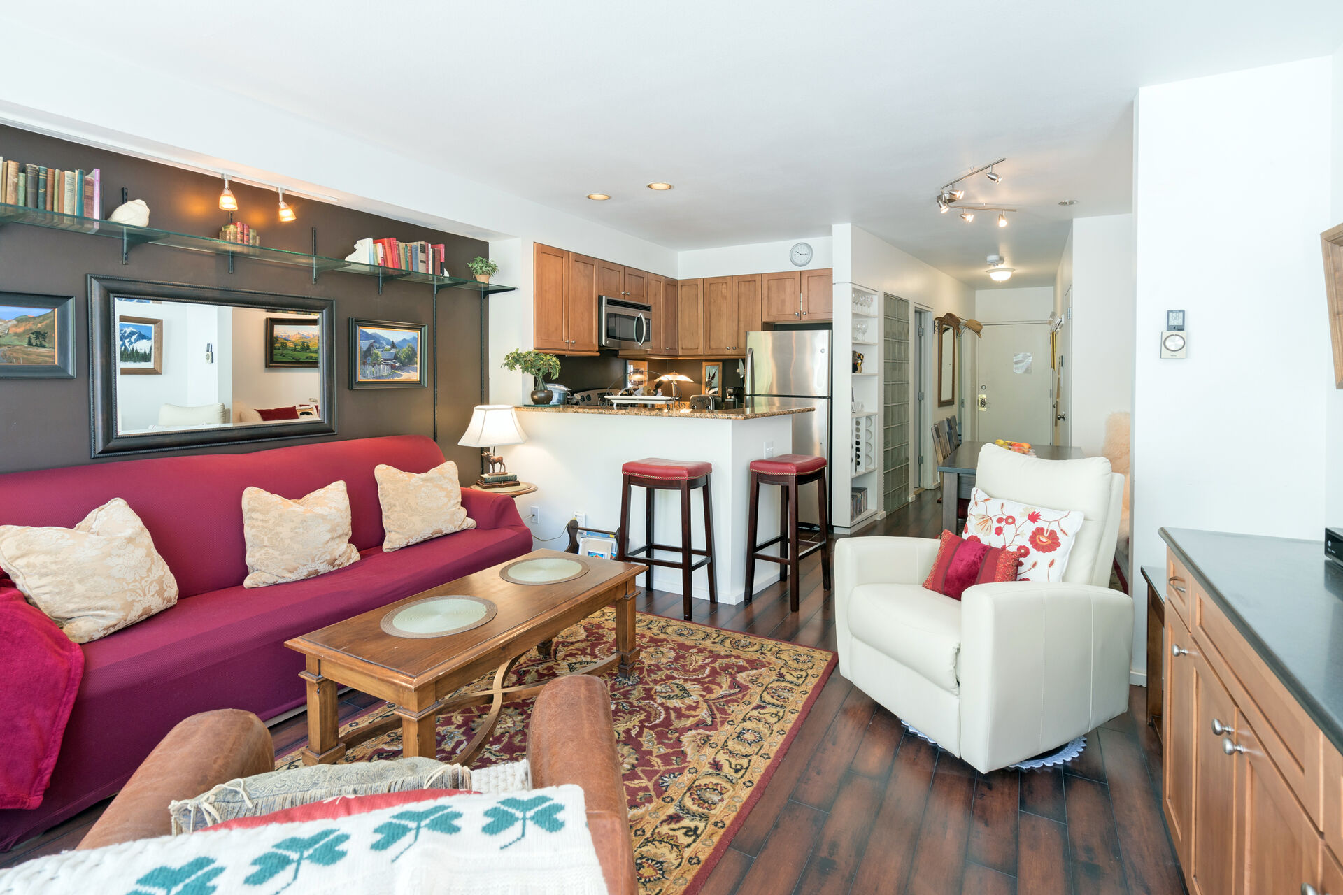 The colorful living area of this Telluride condo.