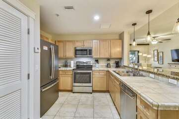 Kitchen, tiled floors