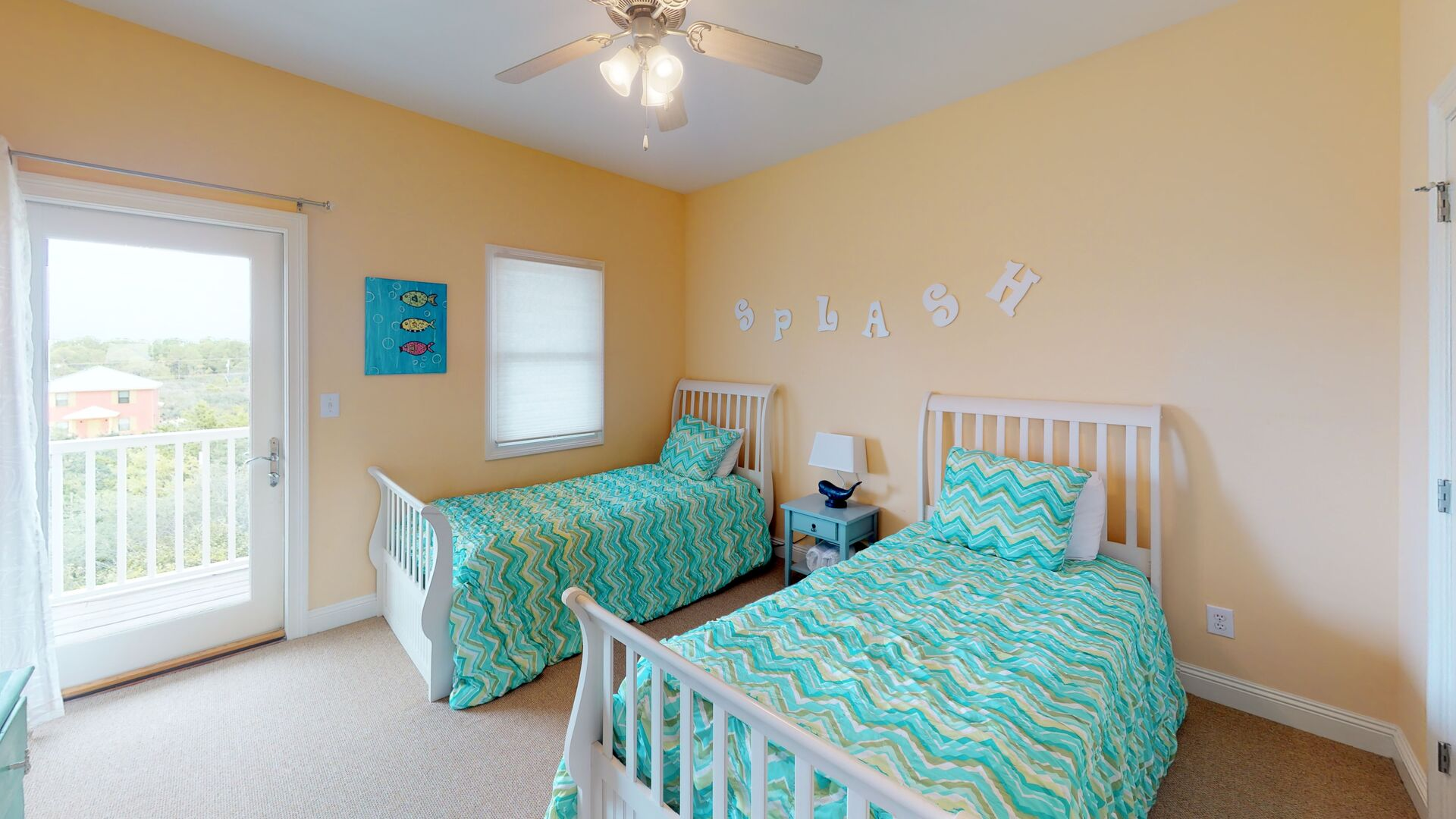 Upstairs Bedroom Features Two Twin Beds.