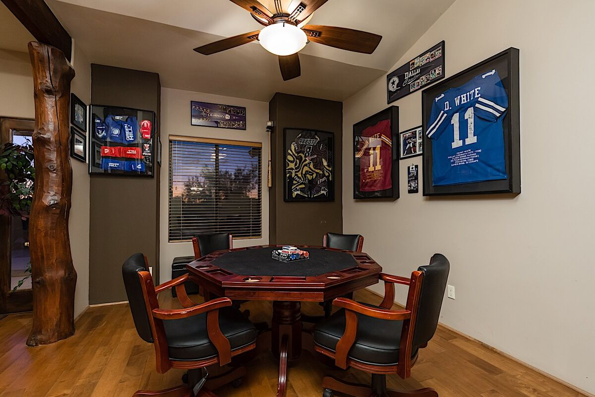 Poker room with chips and cards for an exciting game of Texas Hold 'Em