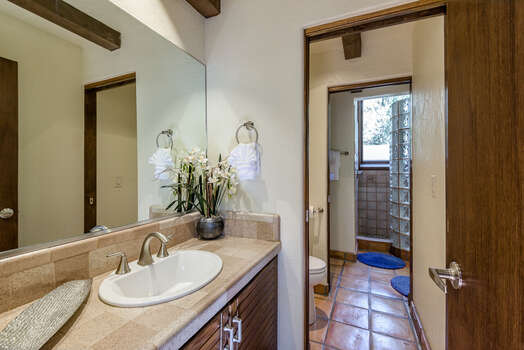 Master Bath with Separate Sinks and a Glass Block Shower