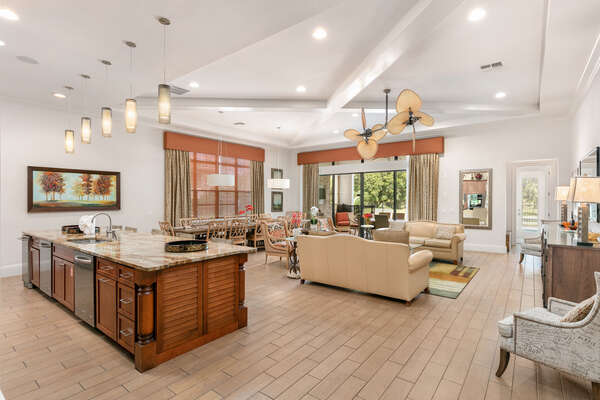 The open floorplan of the living area makes for a great family gathering space