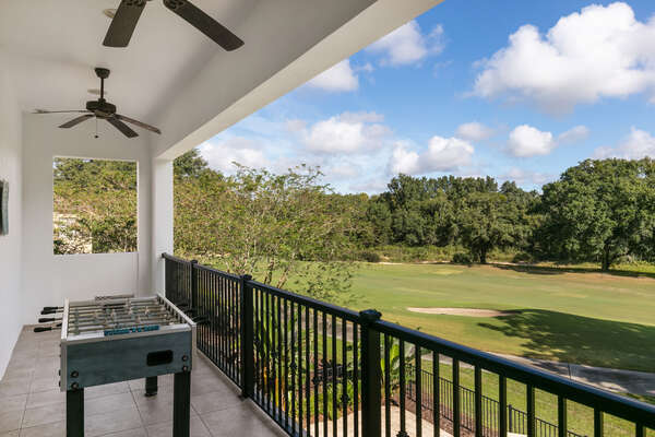 Play a game of foosball or admire the sunset over the golf course from the balcony