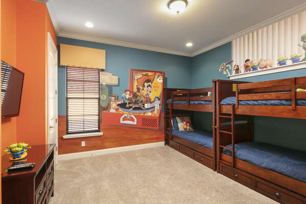 Kids will have a blast with some familiar characters in this fun bedroom