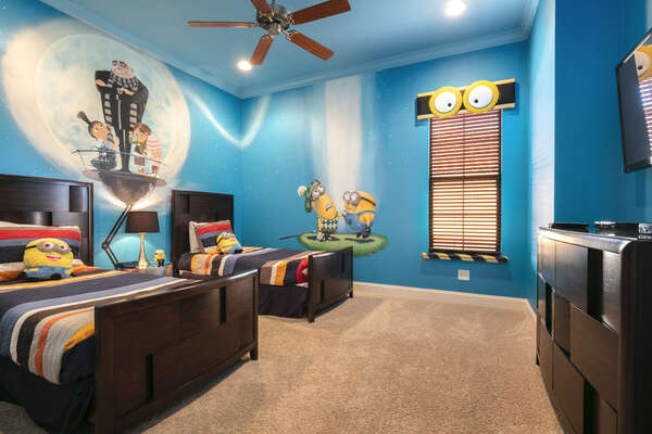 Kids can create mischief in this bedroom where they will have their own TV