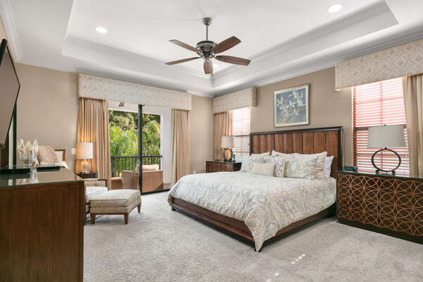 The upstairs master suite has a King bed, private sitting area and access to the second floor balcony