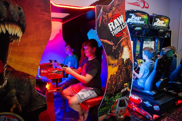 This games room also features Fast & Furious racing arcades and a Jurassic Park Arcade