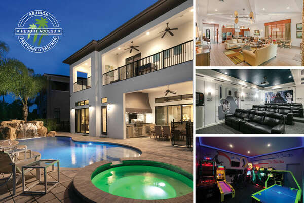 Welcome to Signature Escape Villa, a 9 bedroom 10 bath home with a private pool, spillover spa,  theater room, 2 games rooms | PHOTOS TAKEN: October 2019