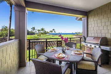 Private lanai with golf course and ocean views