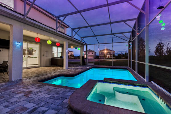 Swim under the light of colorful lanterns (grill not included)
