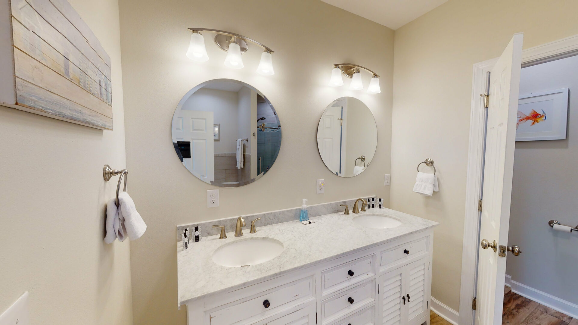 Master bath with a double vanity