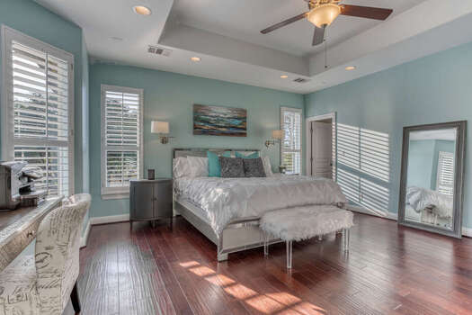 Main Level Grand Master Bedroom with a Luxury King Bed, 65