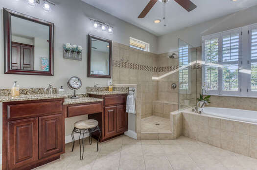 Large Tile Shower and Soaking Tub