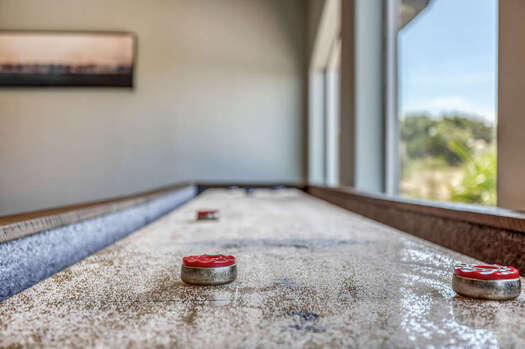 Custom 14 Foot Shuffleboard Table that Overlooks the Stunning Backyard