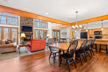 Great Room and Dining Area in our Poconos Vacation Rental