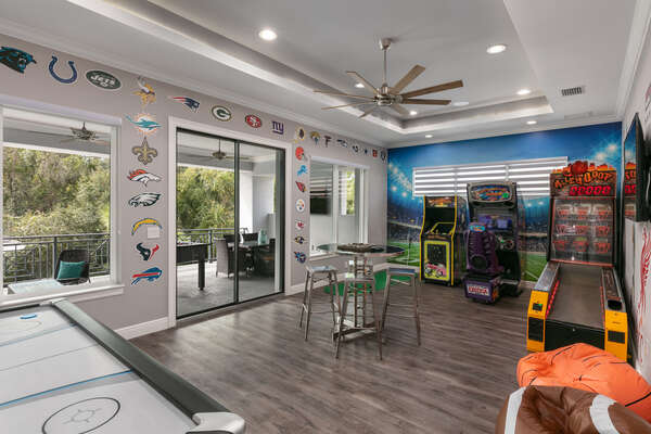 Have some fun in the upstairs game room
