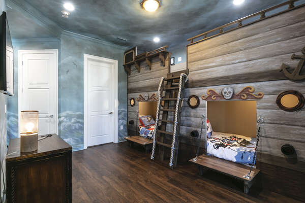 Little pirates will set sail in their custom-built bedroom