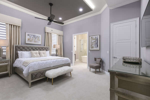 This luxurious master suite will have you excited to go to bed