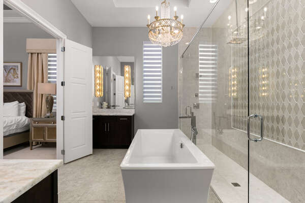 This beautiful ensuite bathroom is perfect of getting ready for the day ahead