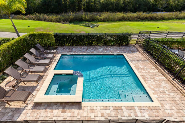 Relax your muscles in the spillover spa or splash in the pool