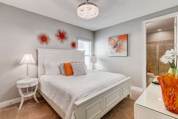 Relax in this plush king bed