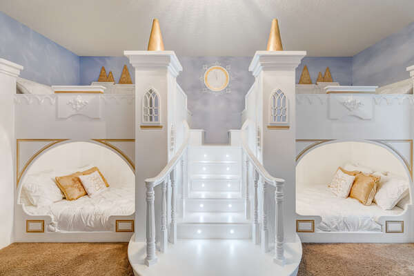 Descend out of bed on the illuminated staircase