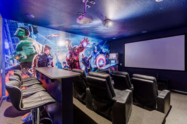 Watch a family favorite on the 120-inch projector screen
