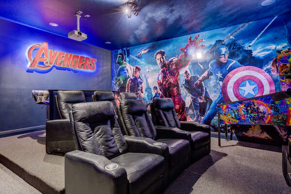 Have a movie night in this customized superhero home theater