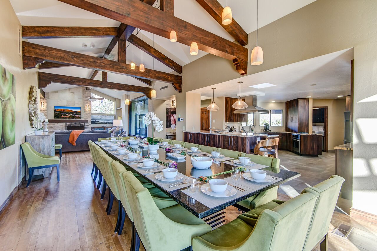 Dining Area with Vaulted Wood Beam Ceilings