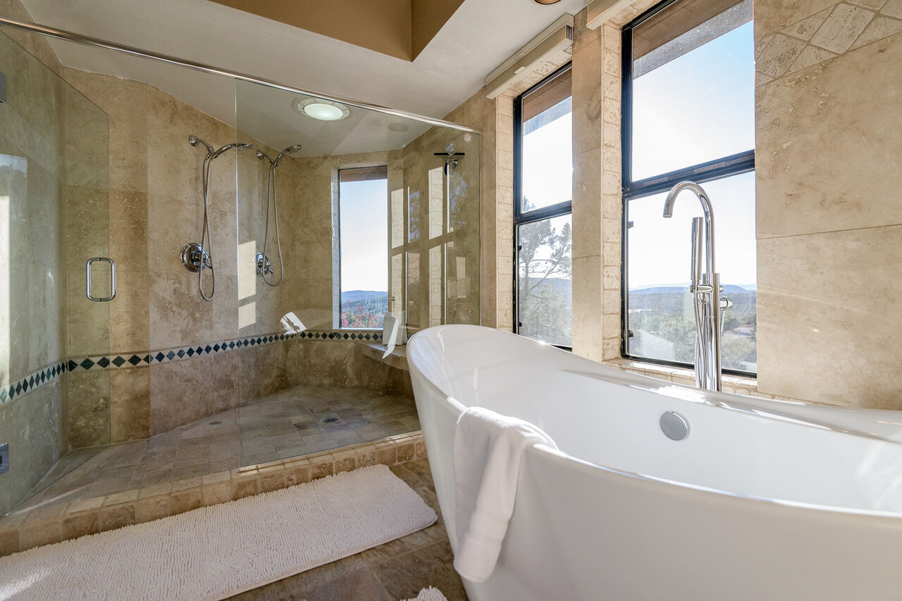 Huge Shower with Multiple Shower Heads, Soaking Tub and Views