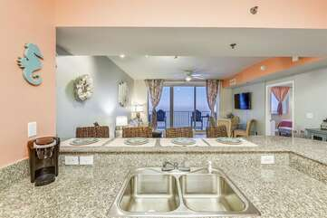 kitchen sink facing living room