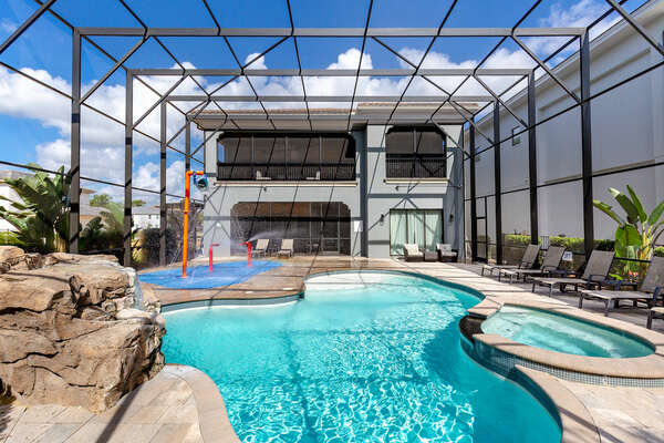 Spend hours at the private screened in pool