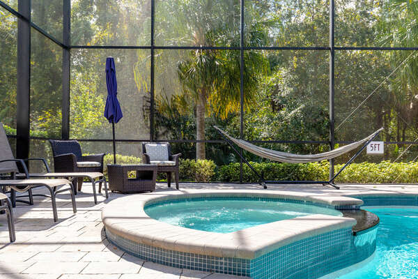 Relax in the hammock or spillover spa