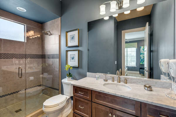 The ensuite bathroom with a large walk-in shower