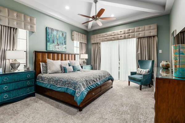 The second master suite has direct access to the patio.