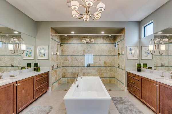 The beautiful ensuite bathroom