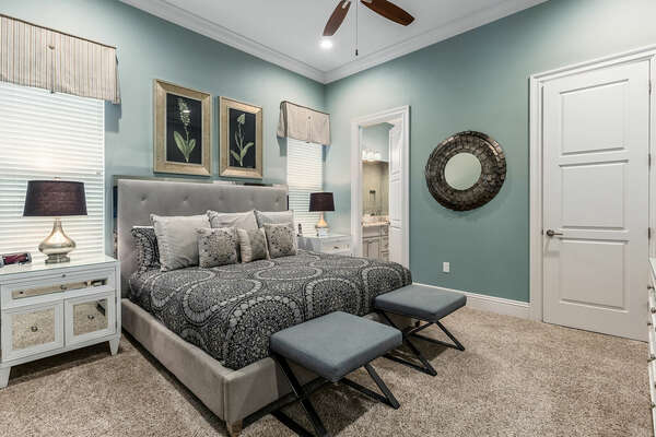 Master suite with a king-size bed