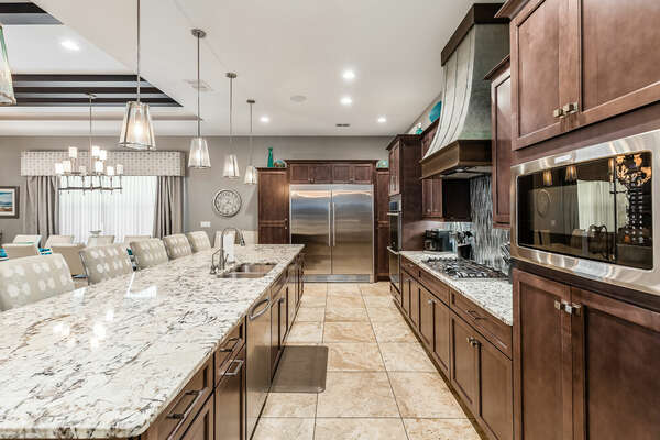 Stainless steel appliances and everything you need while you cook