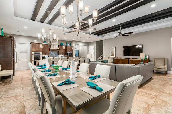 The formal dining table seats up to 12 guests