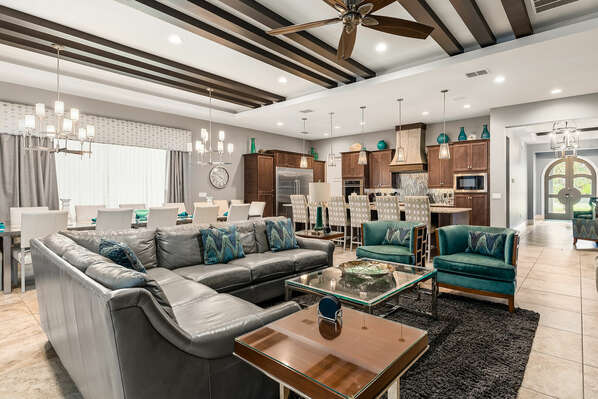 The large living area is great for gathering the whole family