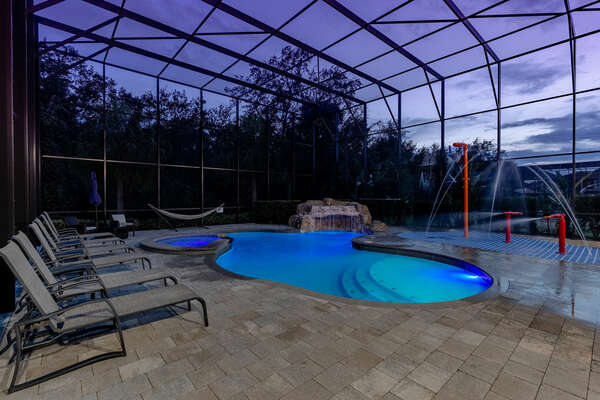 The screened in pool keeps out unwanted bugs