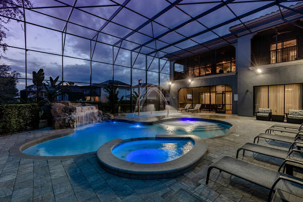 The pool lighting creates an extraordinary atmosphere for a night swim