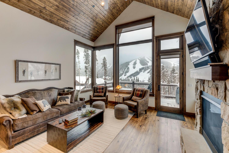 Large main living area with amazing ski resort views