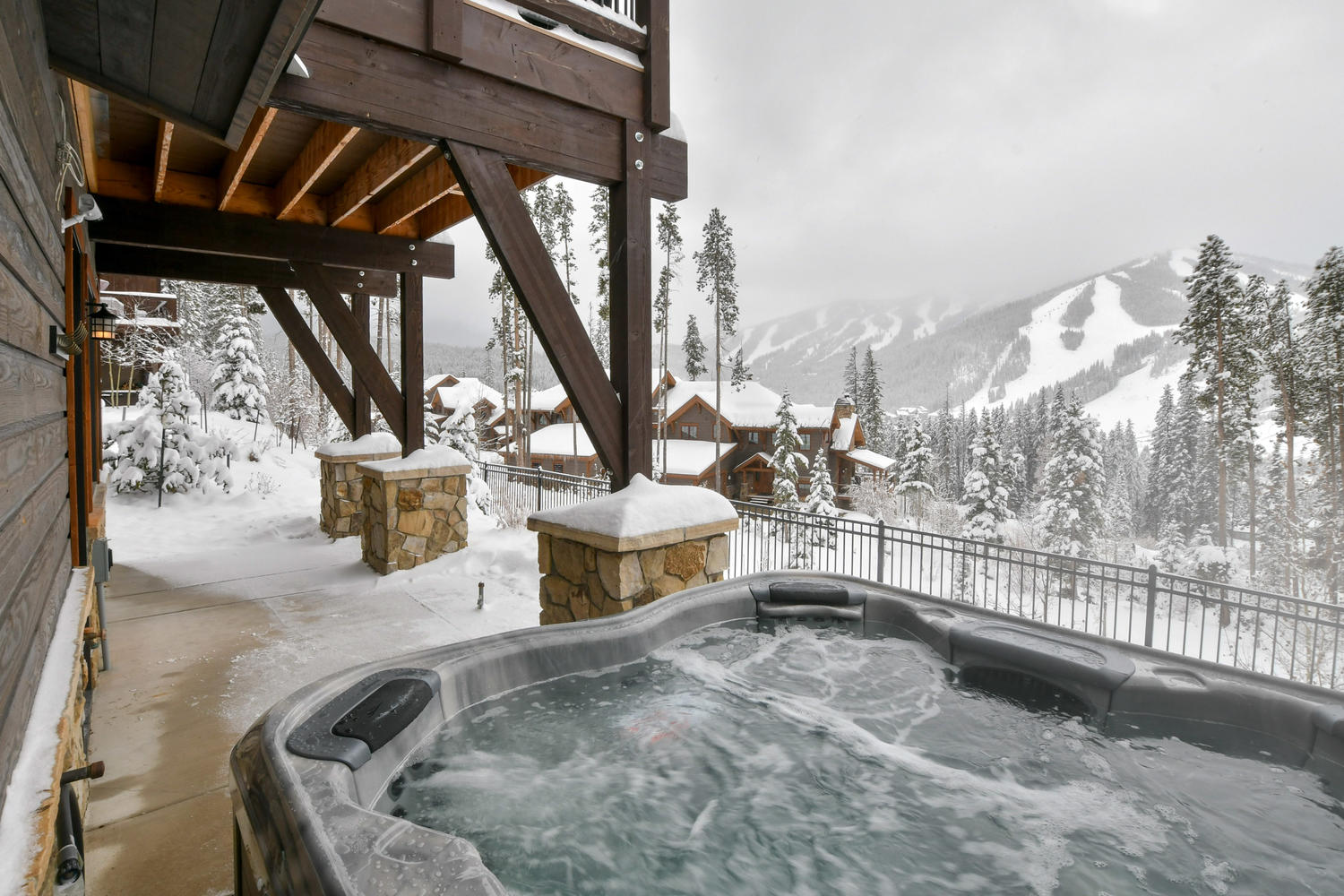 Large private hot tub with amazing ski resort views