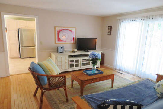 Den with Futon-Flat screen TV , games and entrance to back deck. 30 Chatham Crest Drive Chatham Cape Cod - New England Vacation Rentals