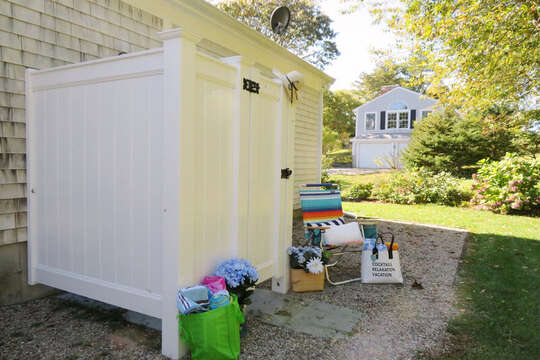 Back yard with outdoor shower- enclosed- 30 Chatham Crest Drive Chatham Cape Cod - New England Vacation Rentals