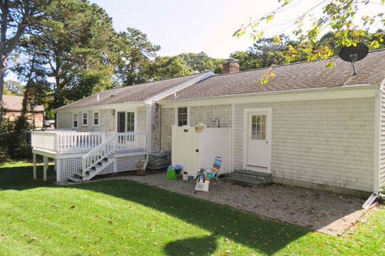 Back of house with outdoor shower and deck. 30 Chatham Crest Drive Chatham Cape Cod - New England Vacation Rentals