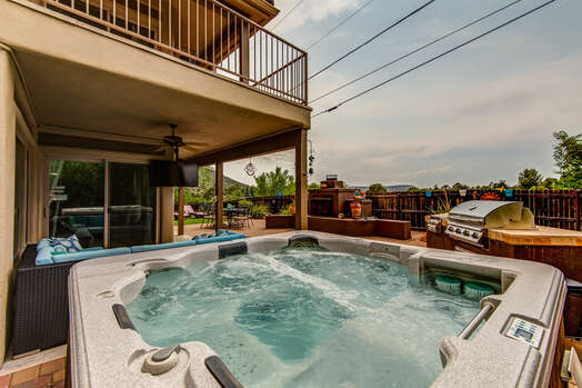 Back Patio with a Private Hot Tub and Built-in BBQ