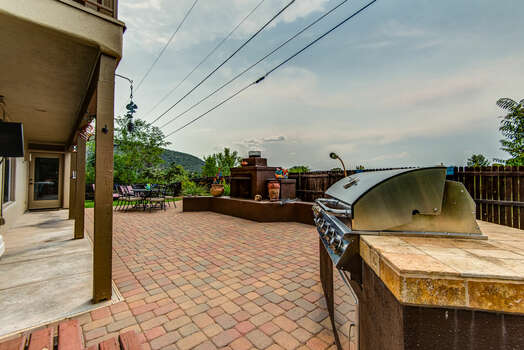 Enjoy the Outdoor Gas Fireplace and Views